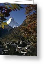 Zermatt Village With The Matterhorn Greeting Card