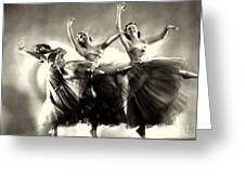 Ziegfeld Model  Dancers By Alfred Cheney Johnston Black And White Ballet Greeting Card
