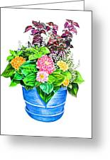 Zinnia Container Garden Greeting Card