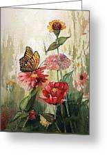 Zinnias And Monarch Greeting Card