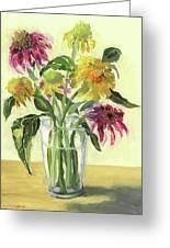 Zinnias In Vase Greeting Card