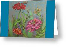 Zinnias With Bee Greeting Card