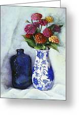 Zinnias With Blue Bottle Greeting Card