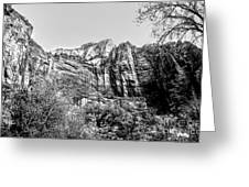 Zion National Park Utah Black White  Greeting Card