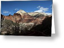 Zion Roadway In Deep Shadow Greeting Card