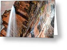 Zion Waterfall At Emerald Pools Greeting Card