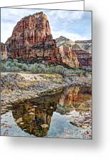 Zions National Park Angels Landing - Digital Painting Greeting Card