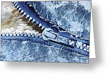 Zipper In Blue Greeting Card