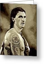 Zlatan Ibrahimovic Sepia Greeting Card
