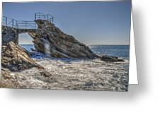 Zoagli Cliffs With Waves And Passage Greeting Card
