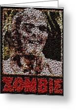 Zombie Bottle Cap Mosaic Greeting Card by Paul Van Scott