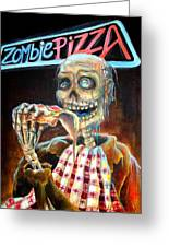 Zombie Pizza Greeting Card