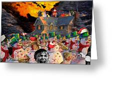 Zombie Snowmen Christmas Greeting Card by Barry Kite