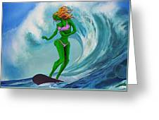 Zombie Surf Goddess Greeting Card