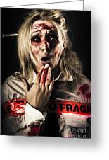 Zombie Woman Expressing Fear And Shock When Waking Greeting Card