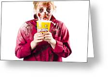 Zombie Woman With Popcorn Greeting Card