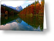 Zugspitz And Riessersee Garmish Germany Greeting Card