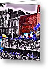 Zulu Krewe In Red And Blue Greeting Card
