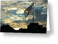 Zurich Griffin Flag At Sunset Greeting Card