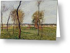A Meadow In Eragny, 1889 Greeting Card