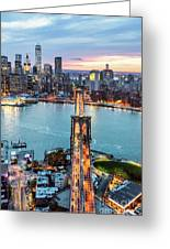 Aerial Of New York City  And Brooklyn Bridge At Dusk Greeting Card