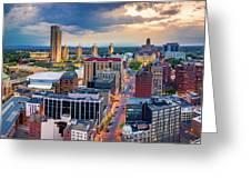 Aerial Panorama Of Albany, New York Greeting Card by Mihai Andritoiu