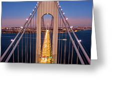 Aerial View Of Verrazzano Narrows Bridge Greeting Card by Mihai Andritoiu