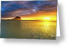 Amazing View Of Le Morne Brabant At Sunset.mauritius. Panorama Greeting Card