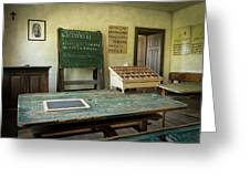 An Old Classroom With Blackboard And Boards With Old Script Greeting Card