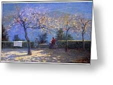 Angelo Morbelli 1853-1919, Spring In Colma - 1906 Greeting Card