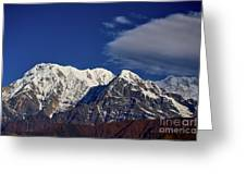 Annapurna South Peak And Pass In The Himalaya Mountains, Annapurna Region, Nepal Greeting Card by Raimond Klavins