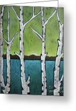 Aspen Trees On The Lake Greeting Card