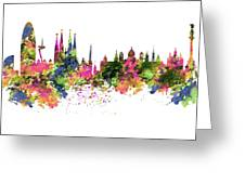Barcelona Watercolor Skyline Greeting Card
