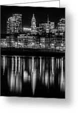 Boston Evening Skyline Of North End And Financial District - Monochrome Greeting Card