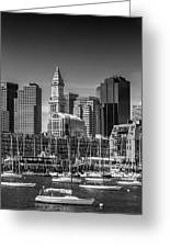 Boston Skyline North End And Financial District - Monochrome Greeting Card