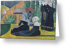 Breton Women With Umbrellas  Greeting Card