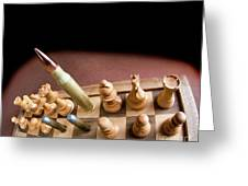 Chess Board And Bullets. Greeting Card