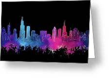 Chicago Skyline Watercolor 3 Greeting Card