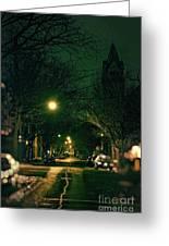 Dark Chicago City Street At Night Greeting Card