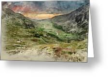 Digital Watercolor Painting Of Beautiful Dramatic Landscape Imag Greeting Card