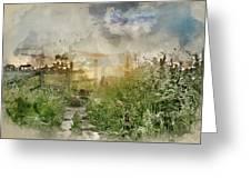 Digital Watercolor Painting Of Beautiful Vibrant Summer Sunrise  Greeting Card