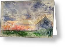 Digital Watercolor Painting Of Old Barn In Landscape At Sunset Greeting Card