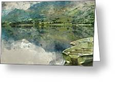Digital Watercolor Painting Of Panorama Landscape Rowing Boats O Greeting Card