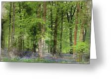 Digital Watercolor Painting Of Stunning Bluebell Forest Landscap Greeting Card
