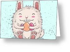 Easter Funny Bunny With Eggs. Vector Greeting Card