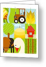 Flat Childish Rectangular Agriculture Greeting Card