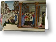 Four Scenes From The Early Life Of Saint Zenobius  Greeting Card
