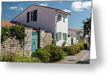 french houses in the streets of Saint Martin de re Greeting Card