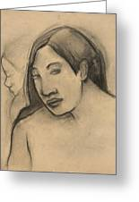 Heads Of Tahitian Women, Frontal And Profile Views Greeting Card