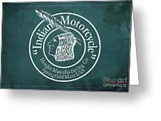 Indian Motorcycle Old Vintage Logo Green Background Greeting Card